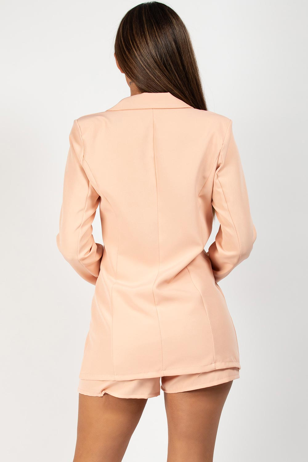 blazer and shorts two piece set nude