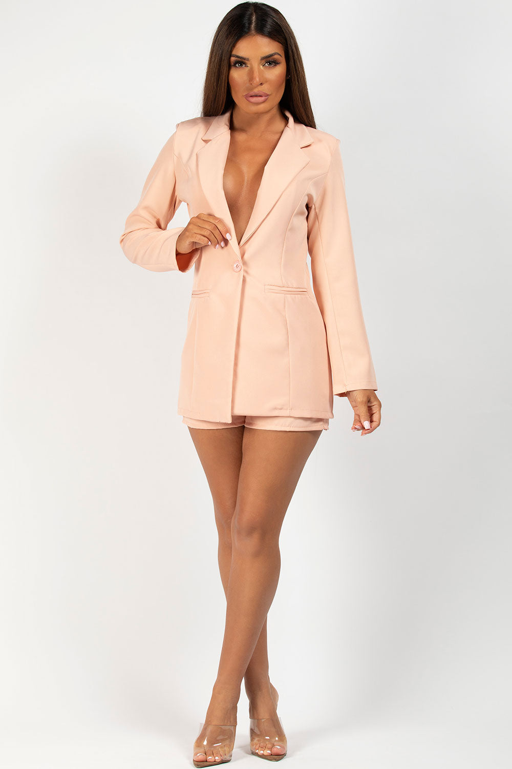 nude blazer and shorts co ord set