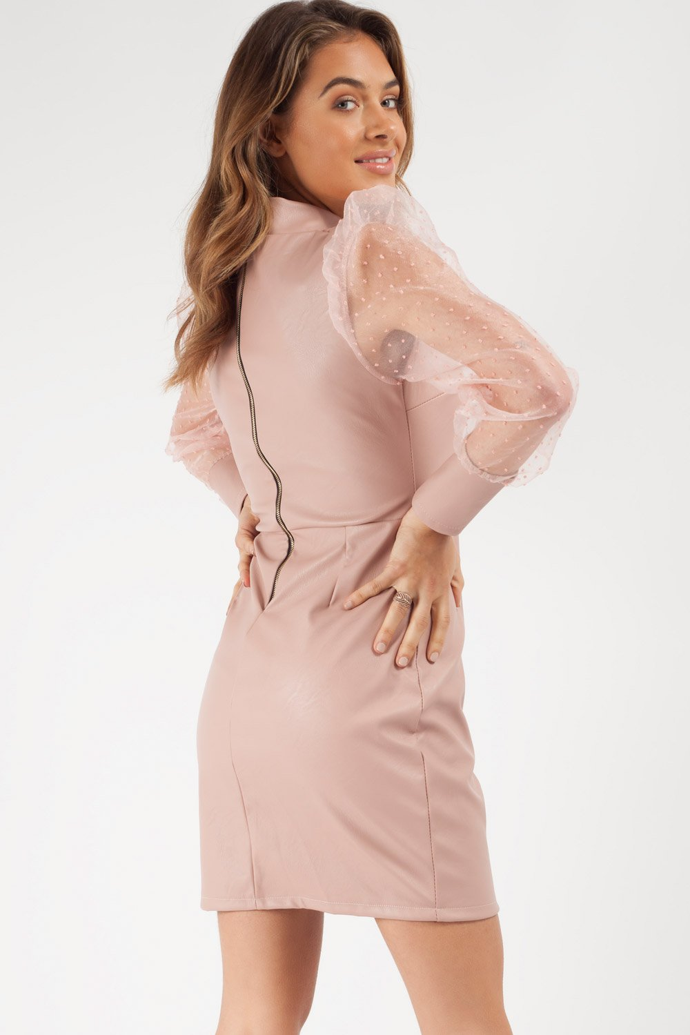 faux leather bodycon dress nude