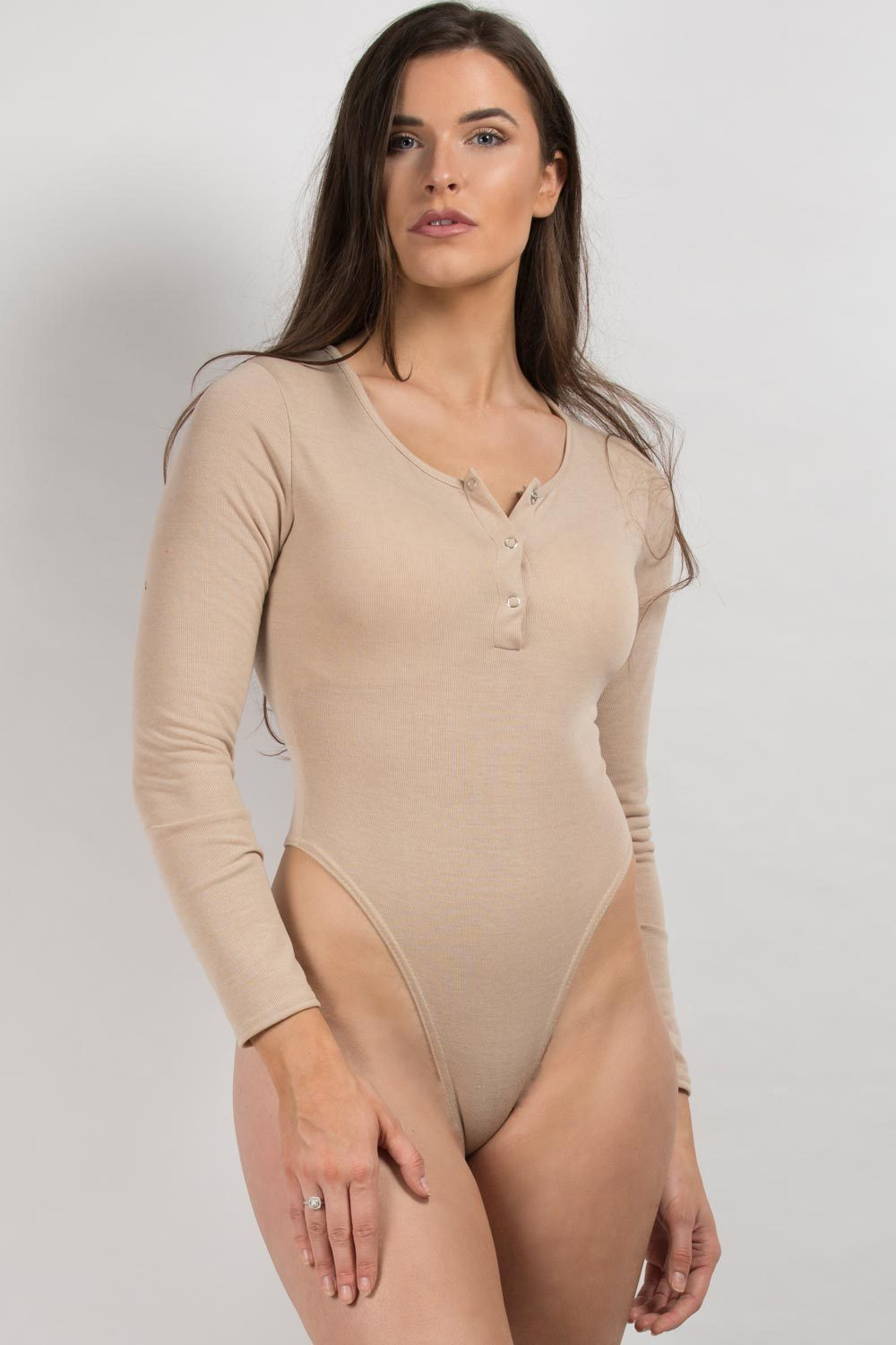 nude long sleeve popper bodysuit