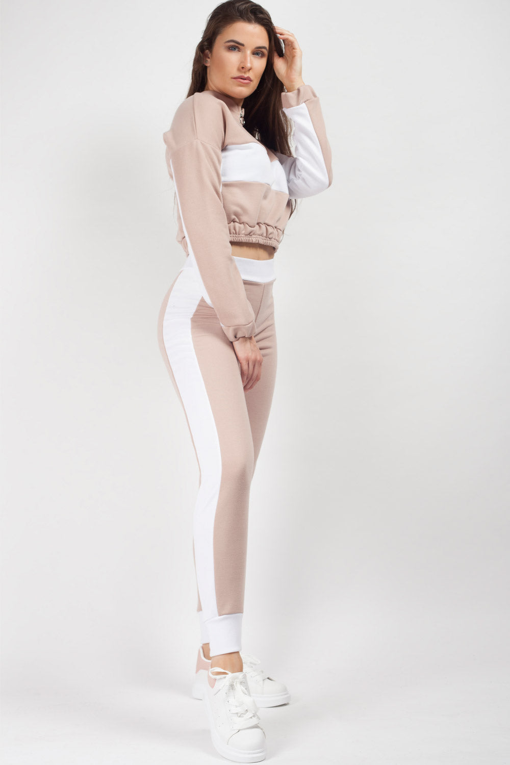 crop sweater and joggers set nude