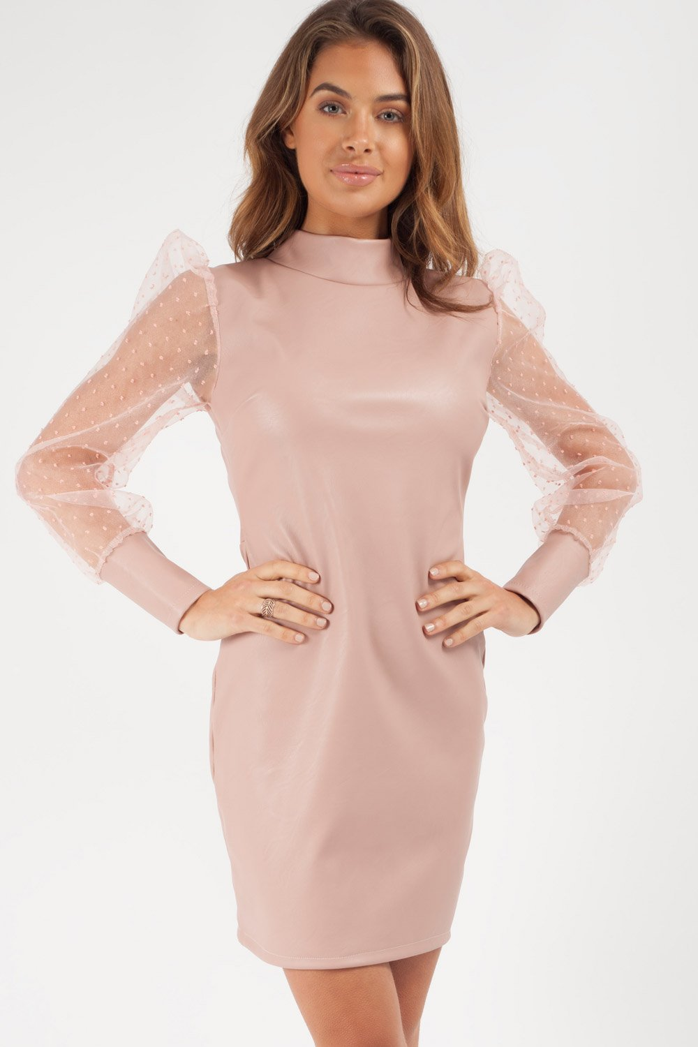 nude faux leather long sleeve bodycon dress