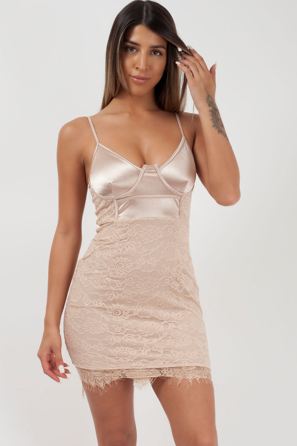 nude bustier dress styledup fashion
