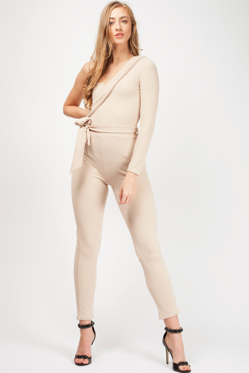 one shoulder jumpsuit nude uk