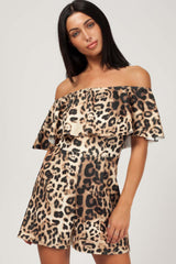 leopard print off shoulder playsuit
