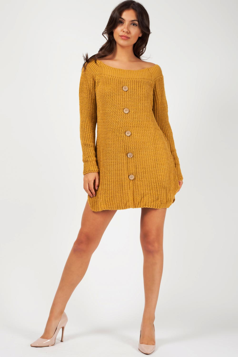 mustard long sleeve jumper dress