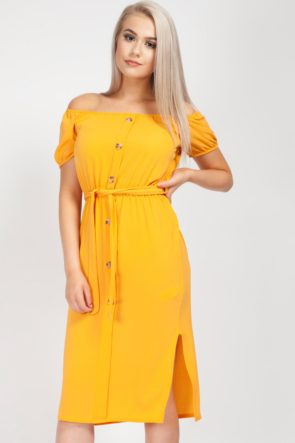 yellow button front dress uk