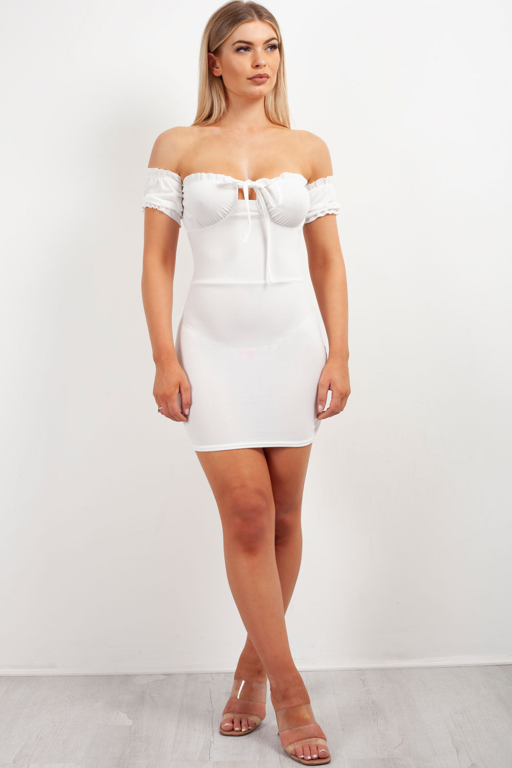 bardot milkmaid bodycon dress