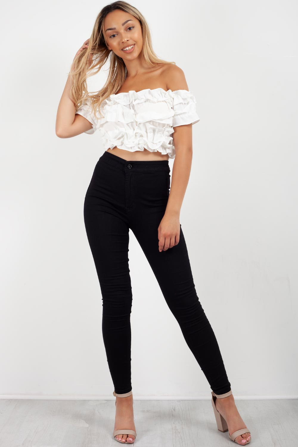 off the shoulder ruffle crop top white