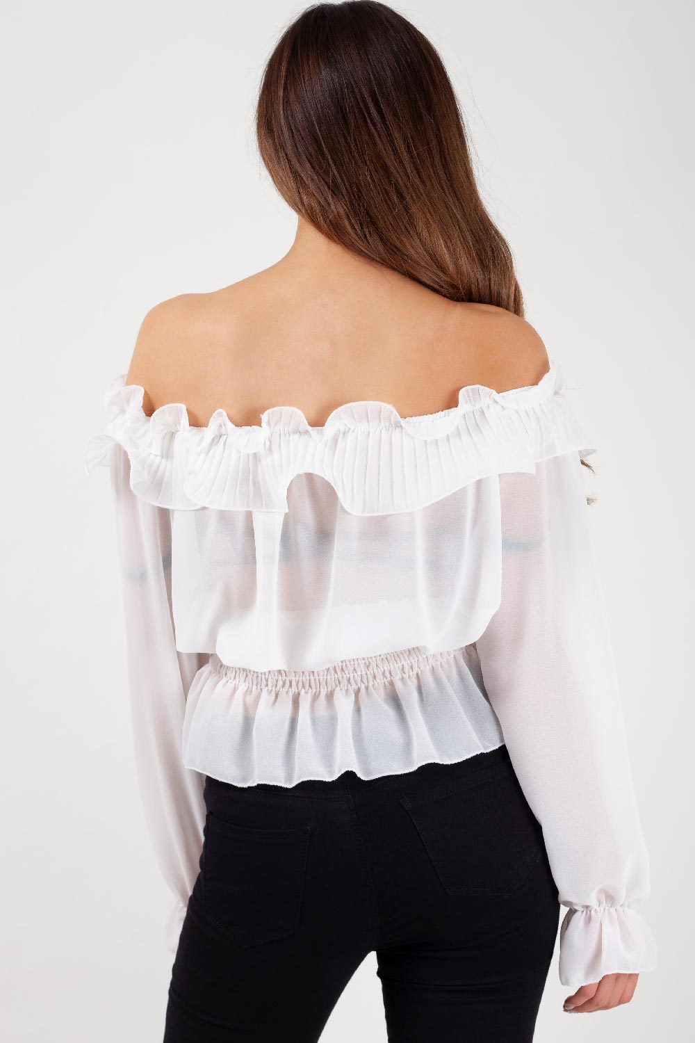 white summer chiffon top