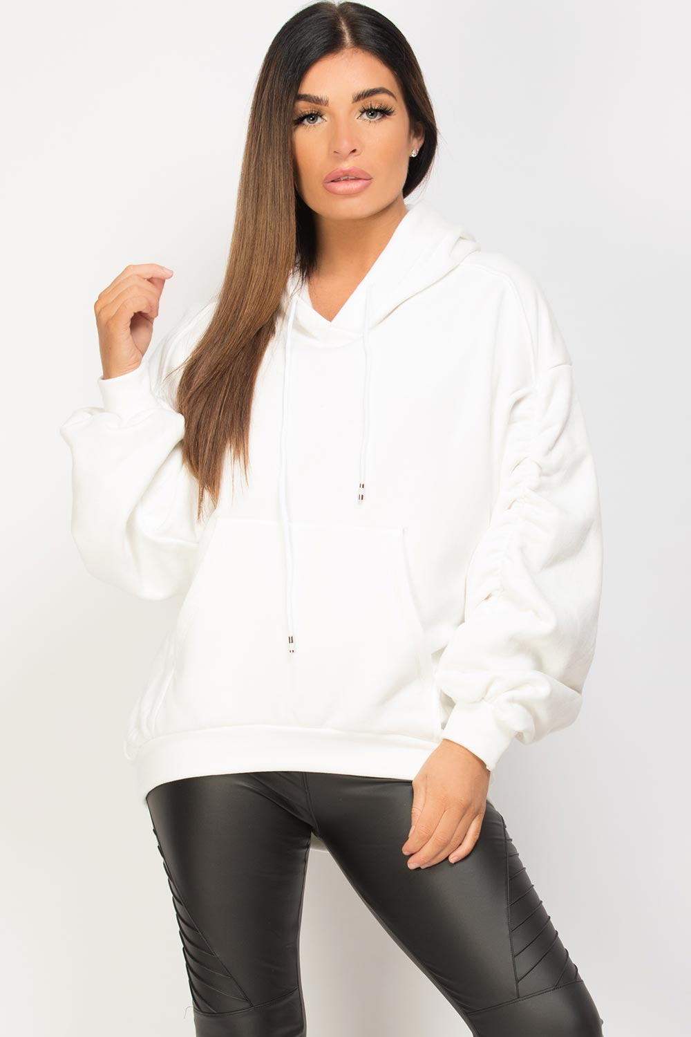 oversized sweatshirt with ruched sleeves cream