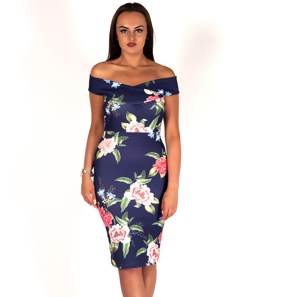 Special Occasion Floral Bardot Bodycon Midi Dress Navy Styledup