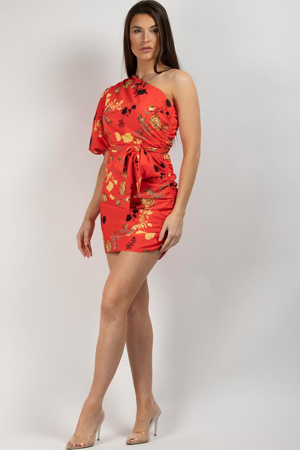 one shoulder puff sleeve floral dress red