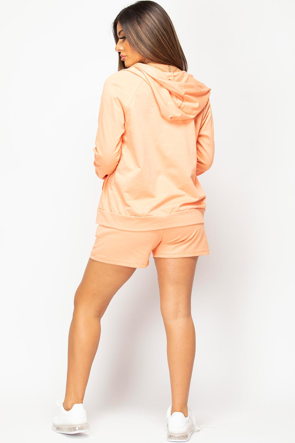 shorts hoodie and top three piece lounge set