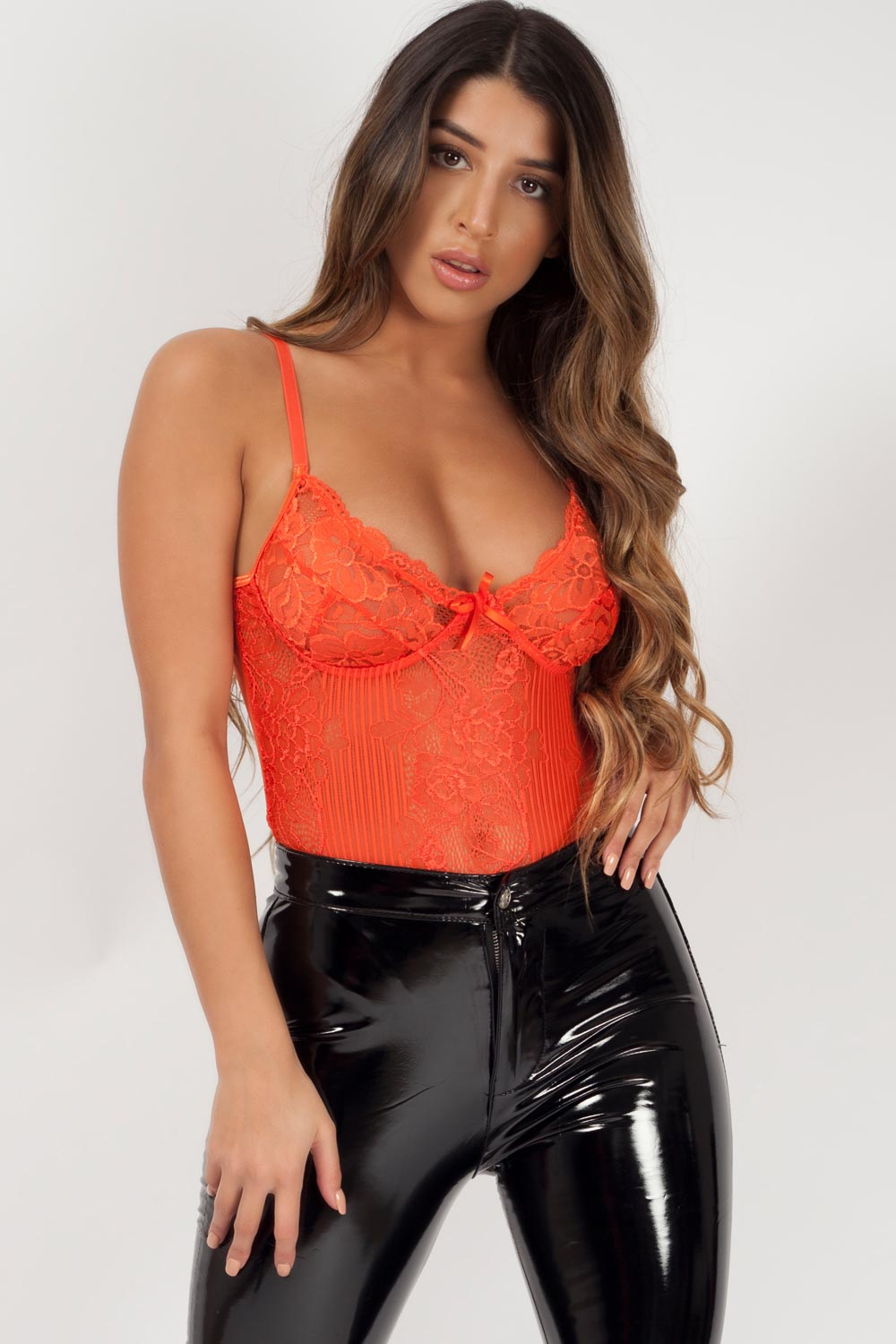 orange lace bodysuit styledup fashion