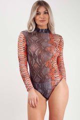 long sleeve snake sking bodysuit orange