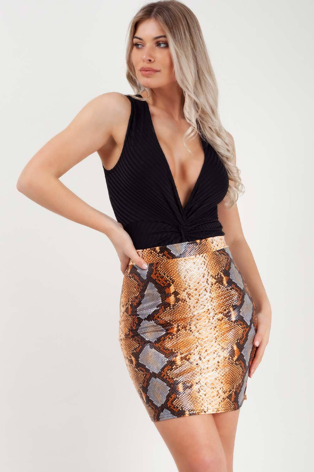 snake print bodycon mini skirt