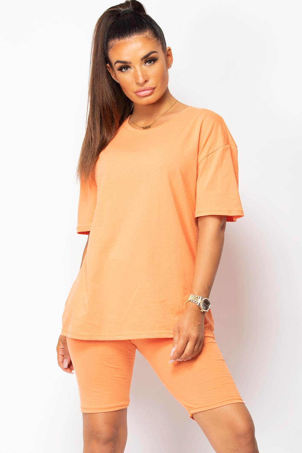 t shirt and cycling shorts lounge set