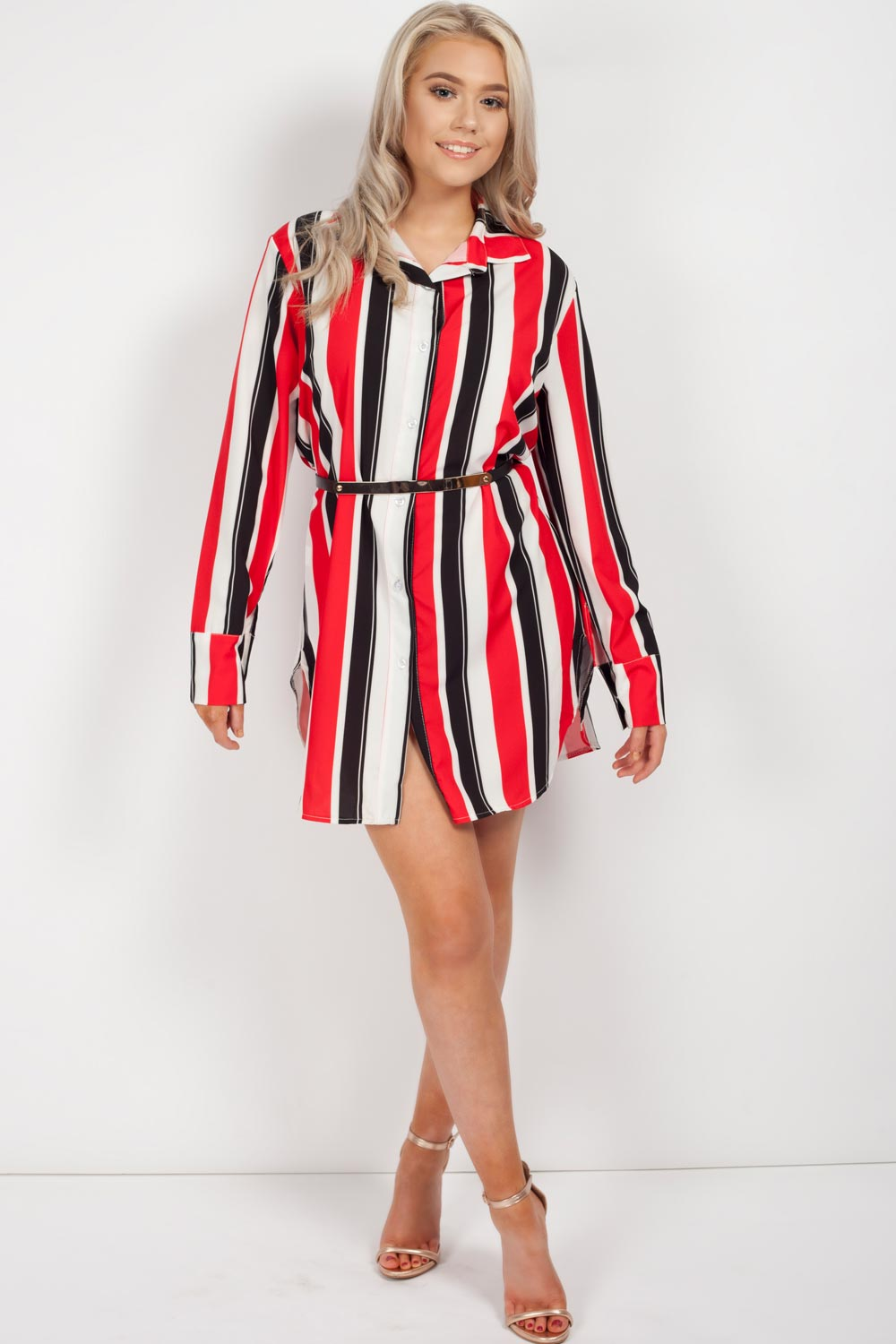 womens long stripe shirt dress