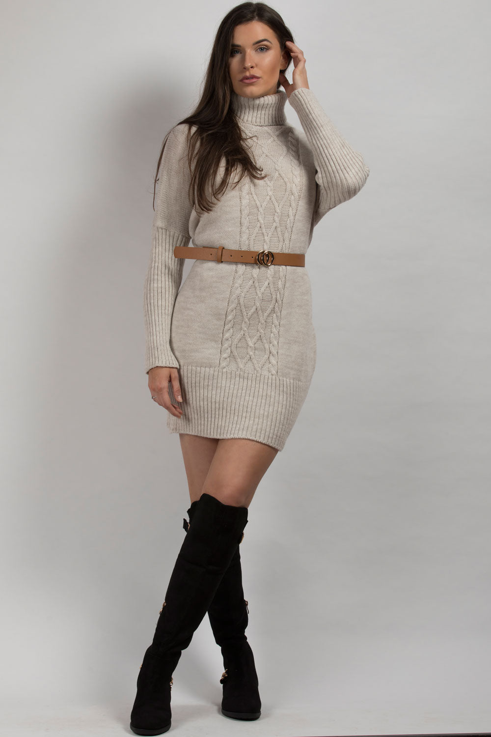 high neck jumper dress beige