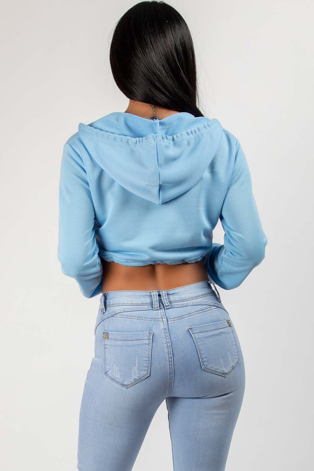 Sky Blue Crop Hoodie With Draw String Waist