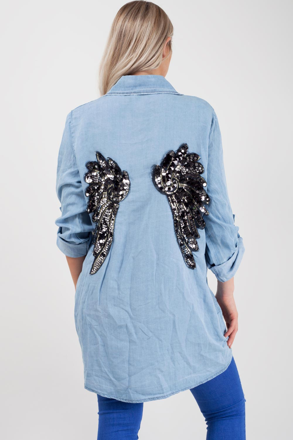 sequin wings back denim shirt