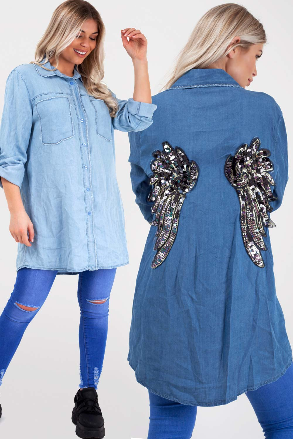 oversized denim shirt with sequin wings