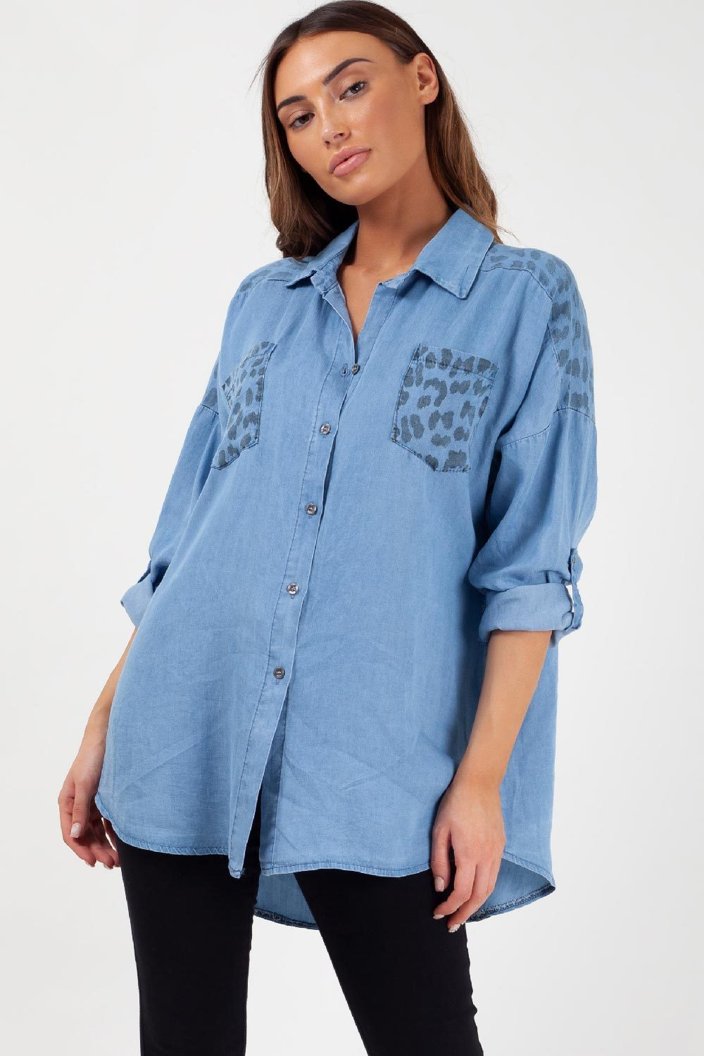 womens oversized denim shirt styledup fashion