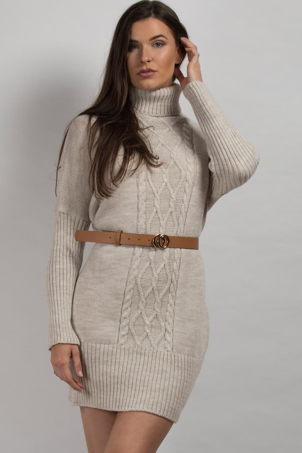 jumper dress beige