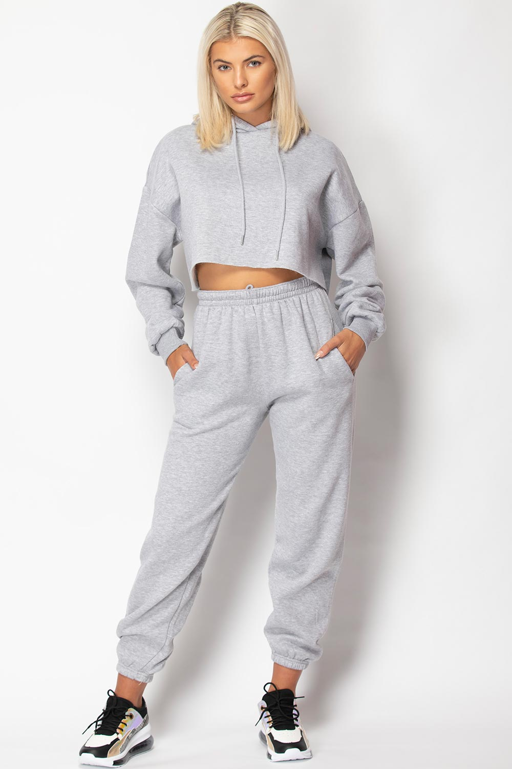 grey joggers and hoodie set womens uk