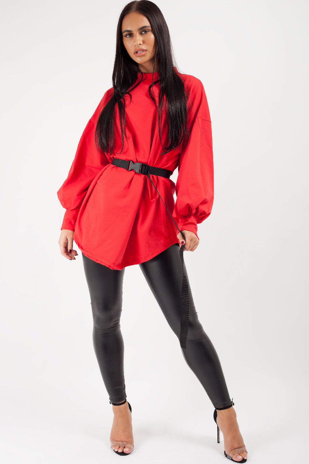 red belted oversized sweatshirt on sale uk