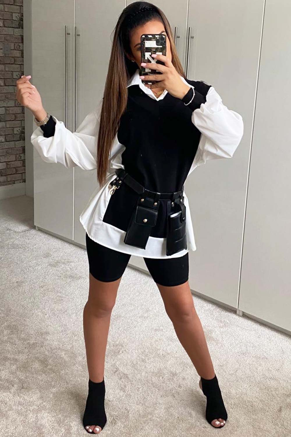 black and white shirt jumper styledup fashion