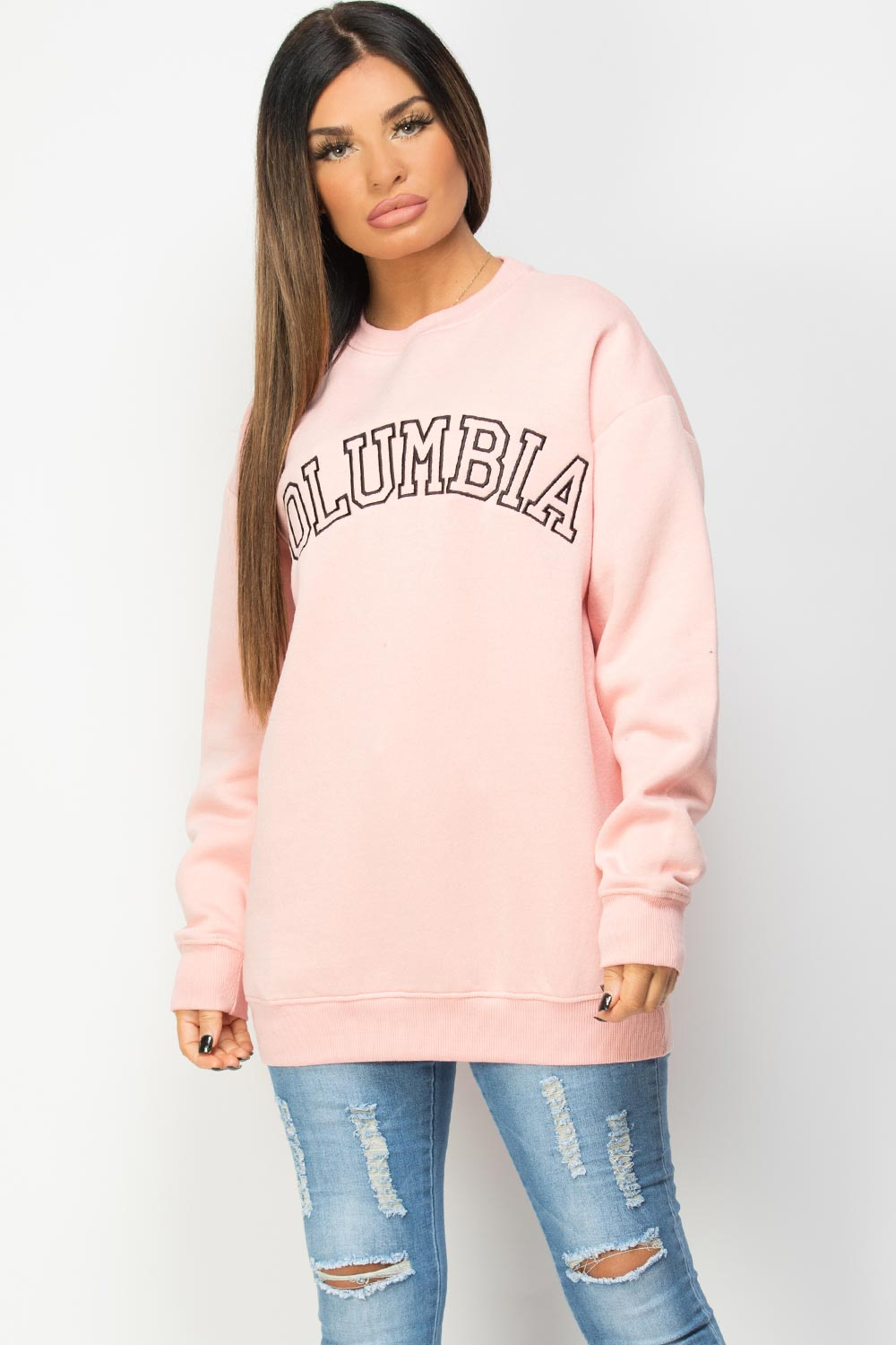 pink sweatshirt with cloumbia embroidery
