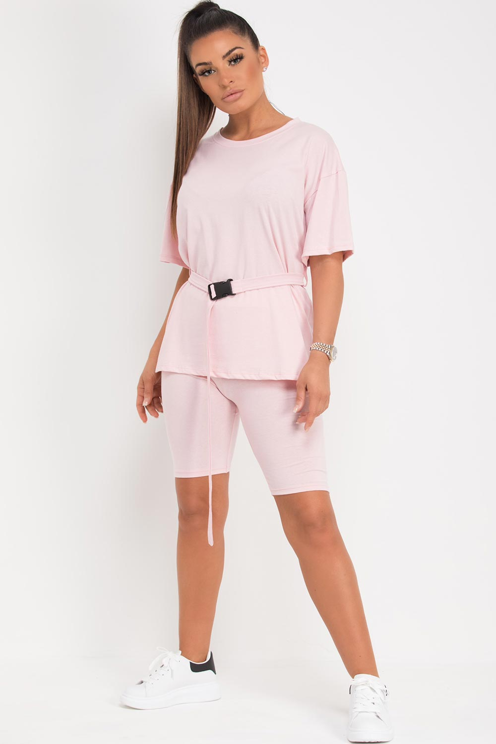 pink cycling shorts top two piece set with belt