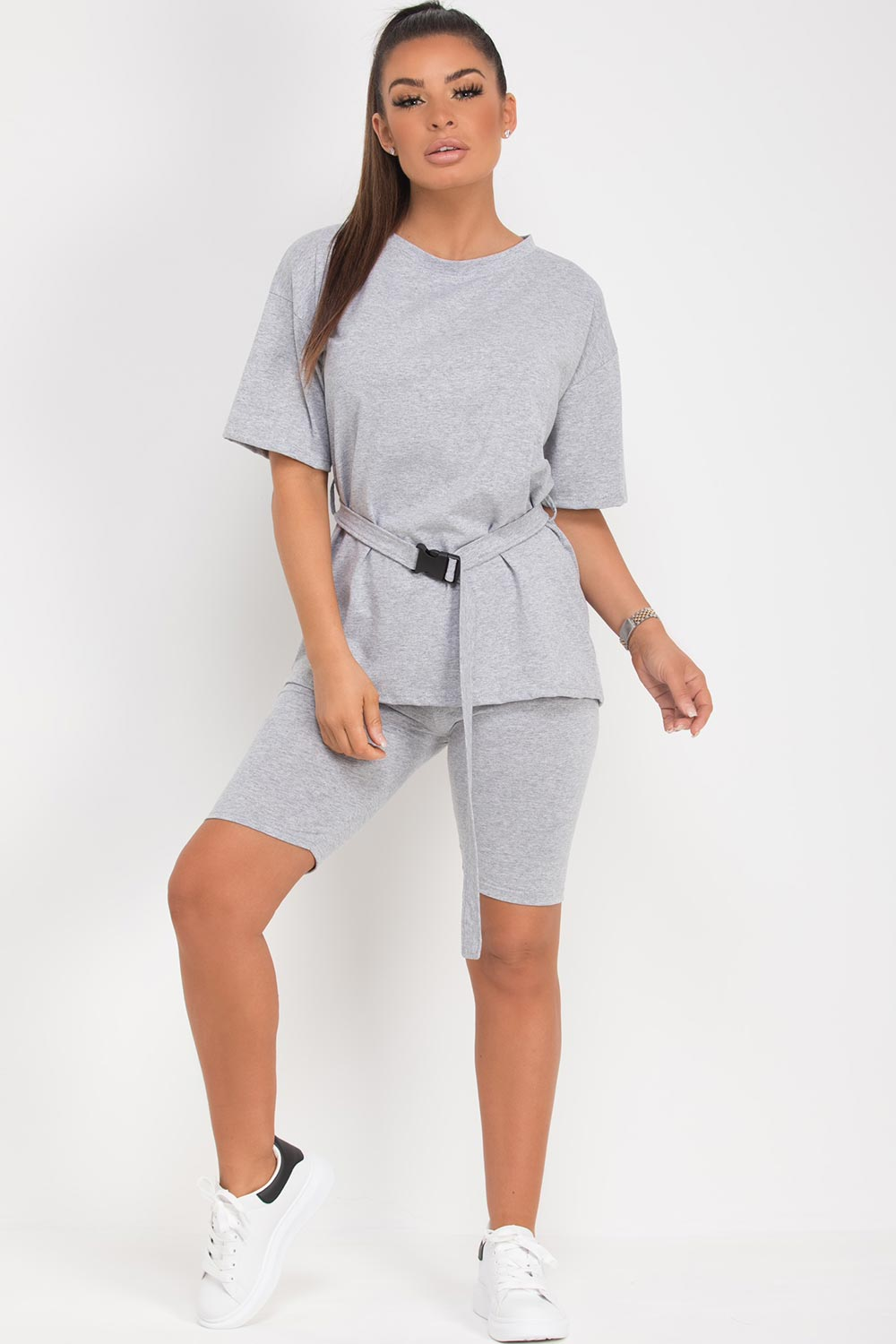 grey cycling shorts and oversized top with belt two piece set