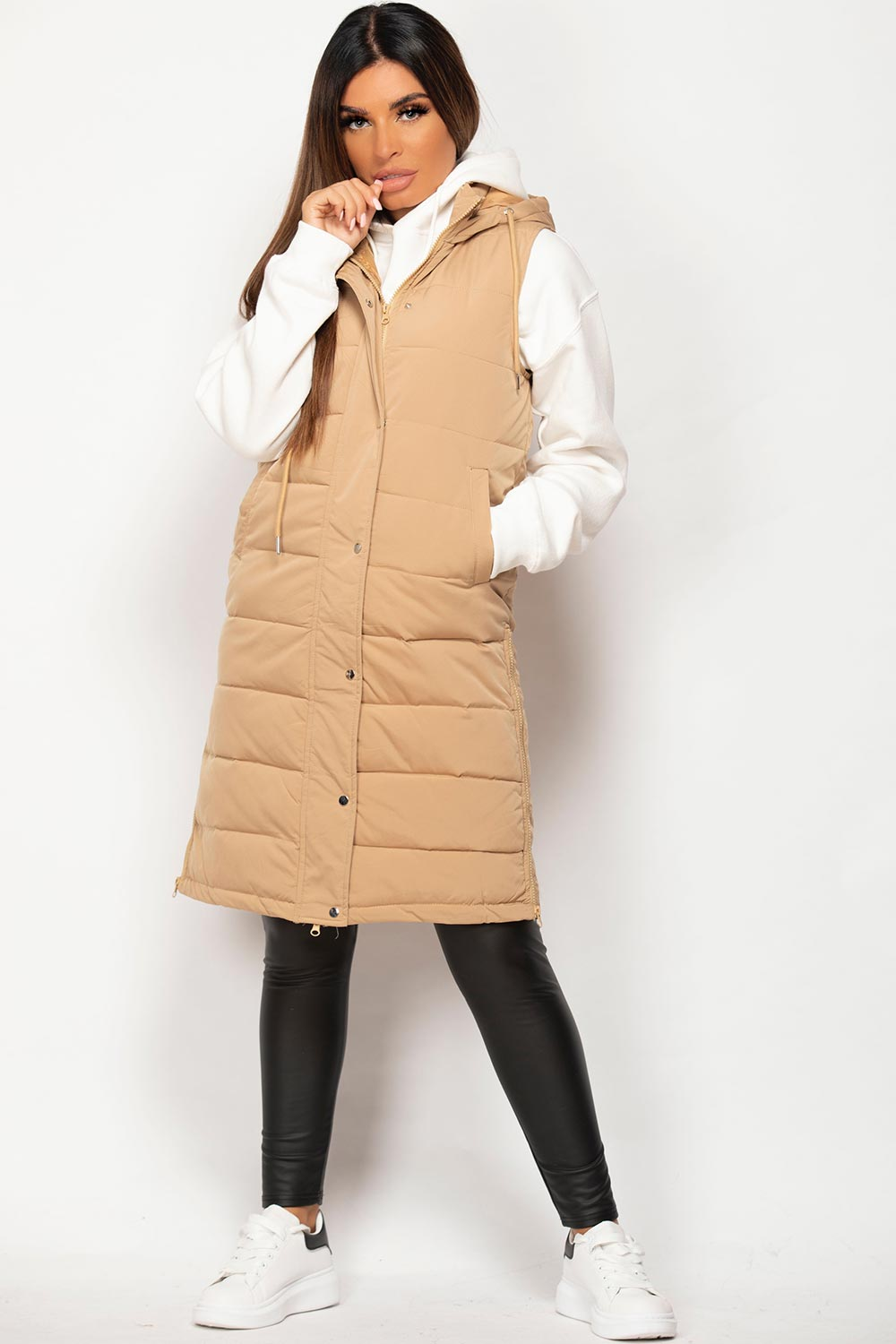 long length body warmer camel