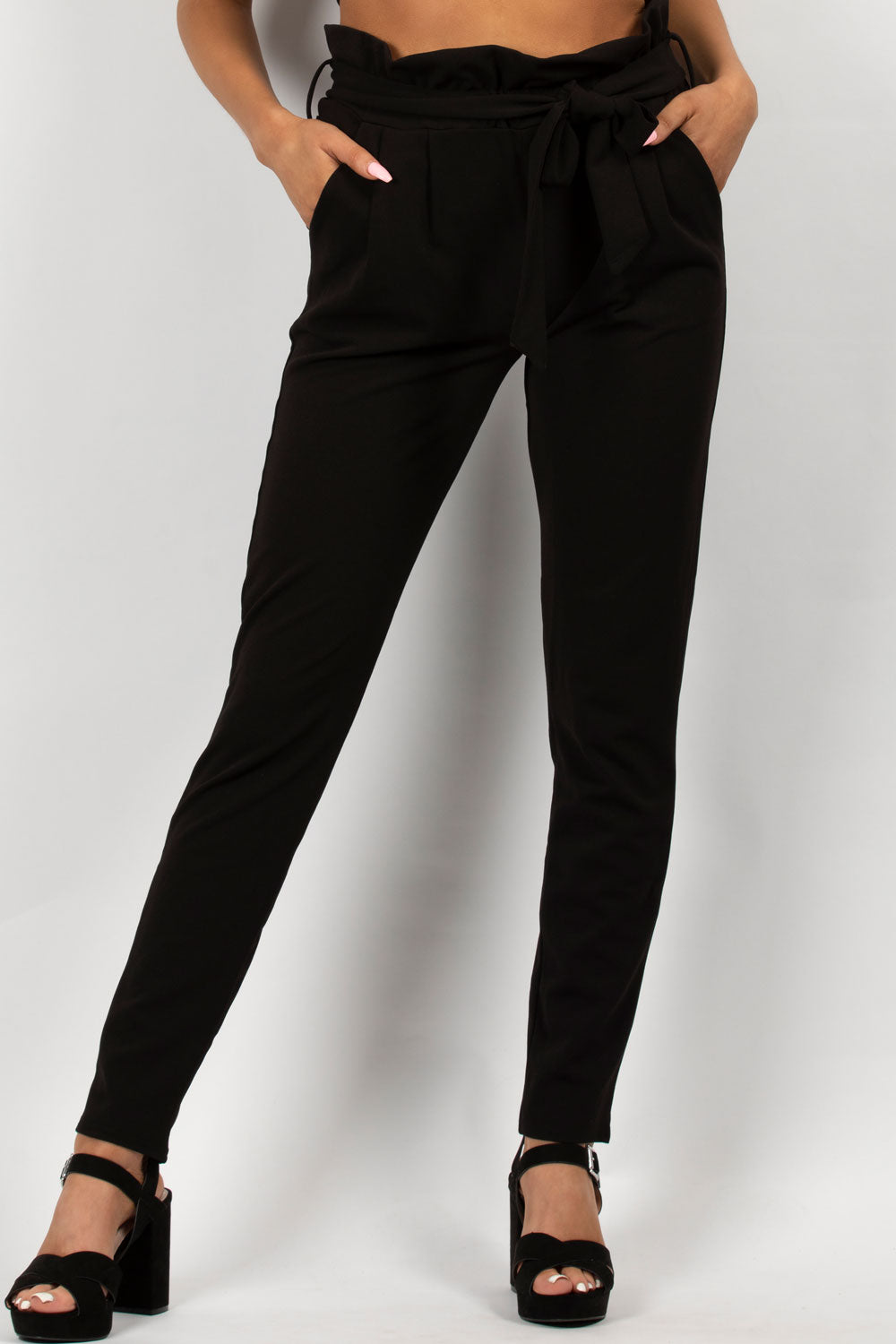 paperbag high waisted trousers black