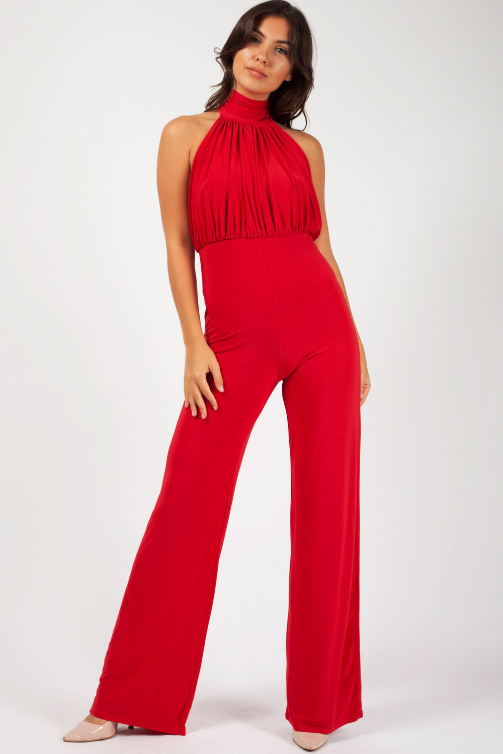 f94e0762f3b3 Wide Leg High Neck Jumpsuit Red – Styledup.co.uk