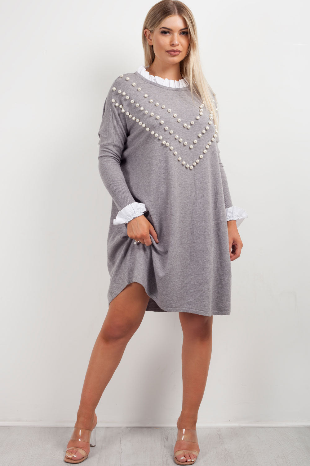 grey pearl jumper shirt styledup fashion