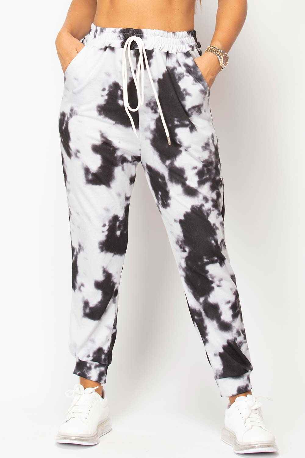 tie dye joggers black and white