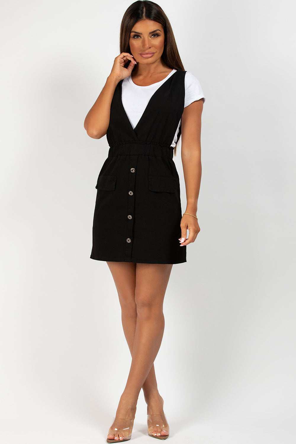 black and white pinafore dress