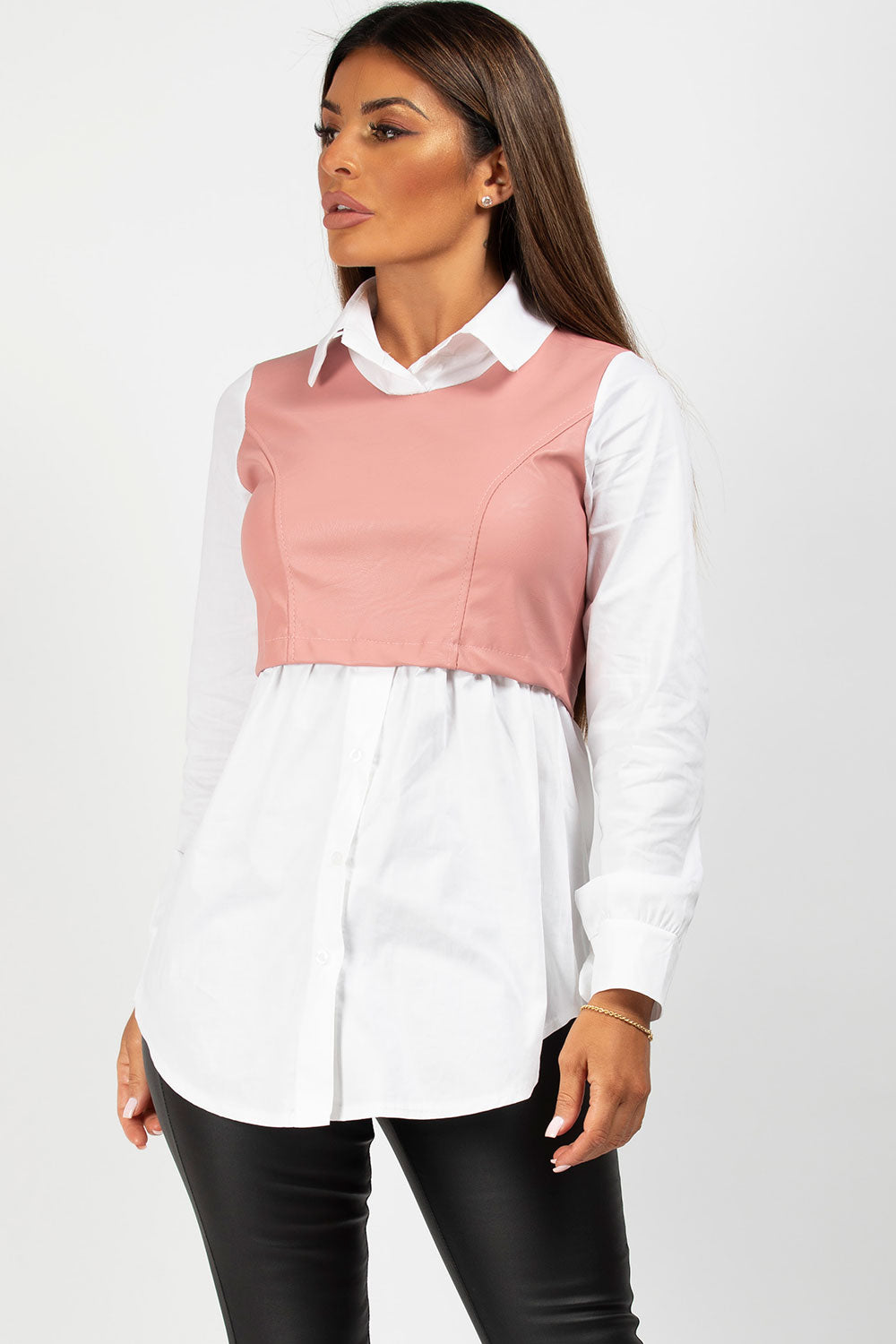 Pu leather bust panel shirt