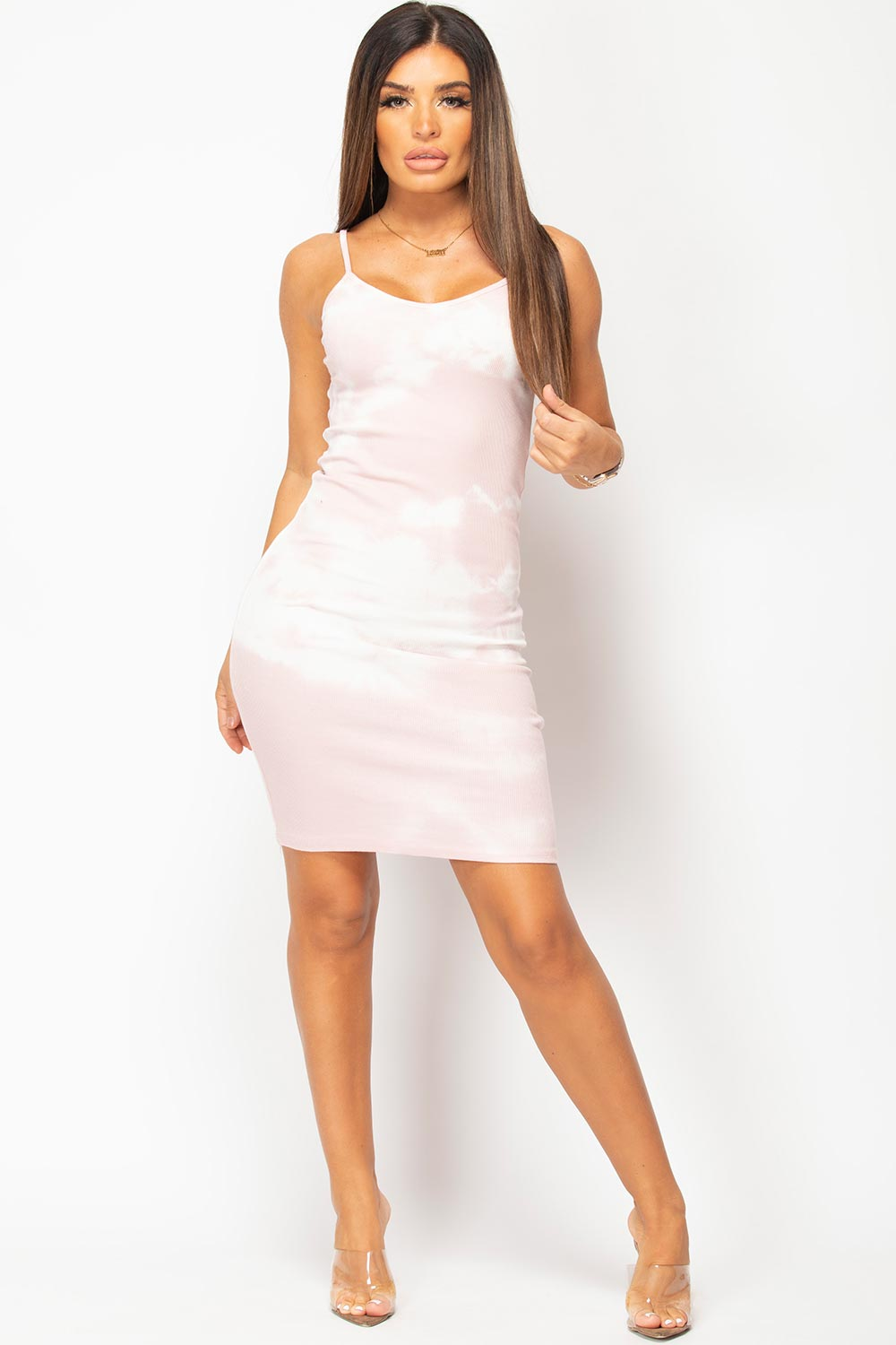 pink ribbed bodycon dress