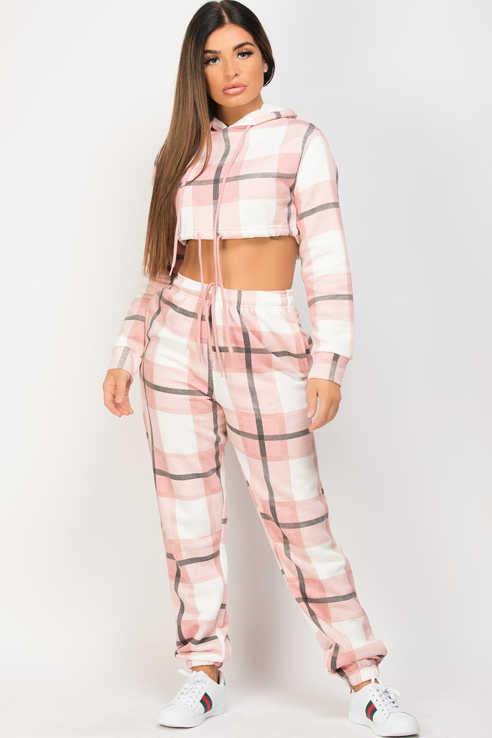 pink check loungewear set uk