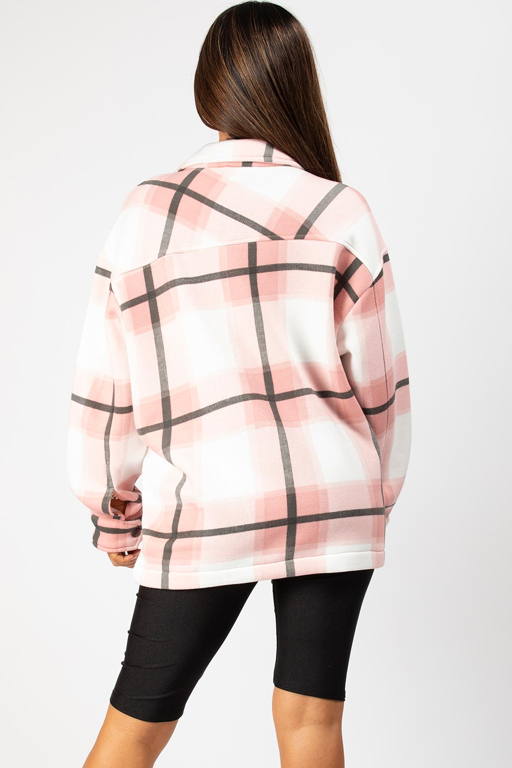 check oversized shacket pink