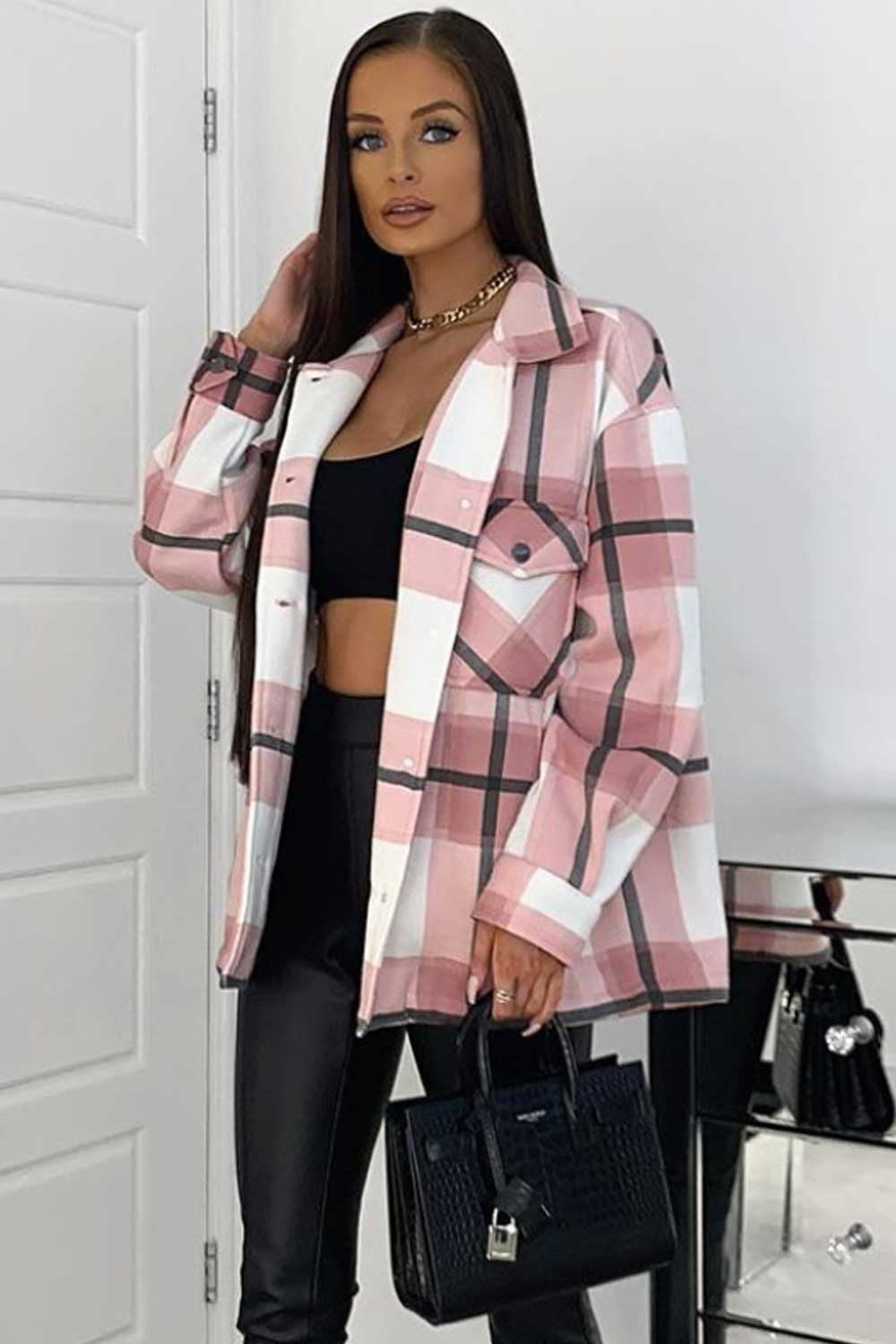 pink oversized shirt shacket