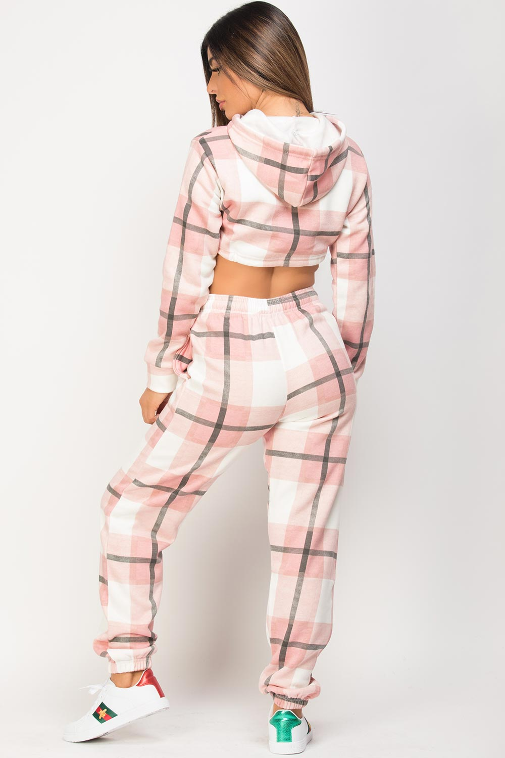 checkered lounge set pink