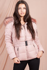 puffer jacket with fur hood pink