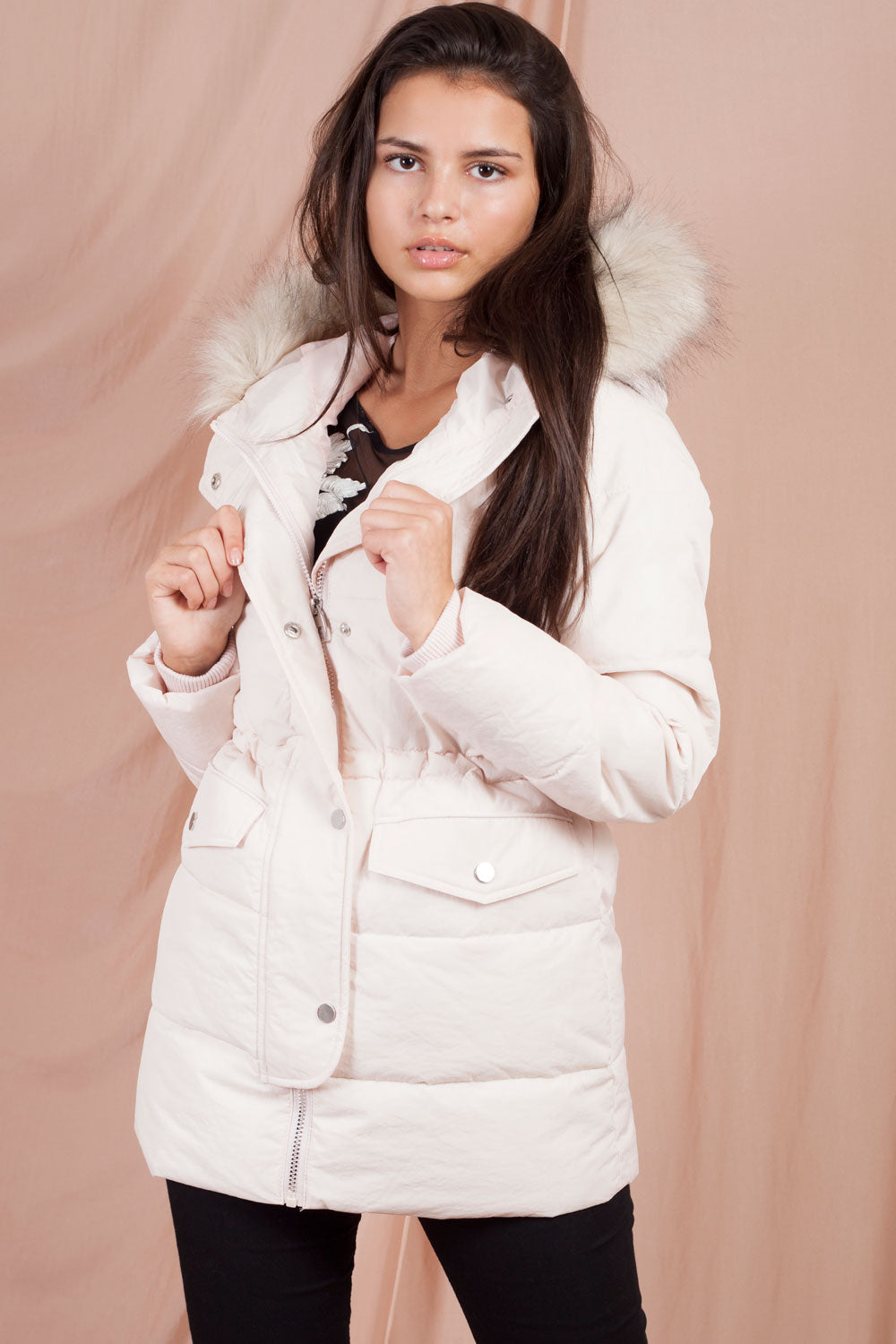 puffer jacket with fur hood womens