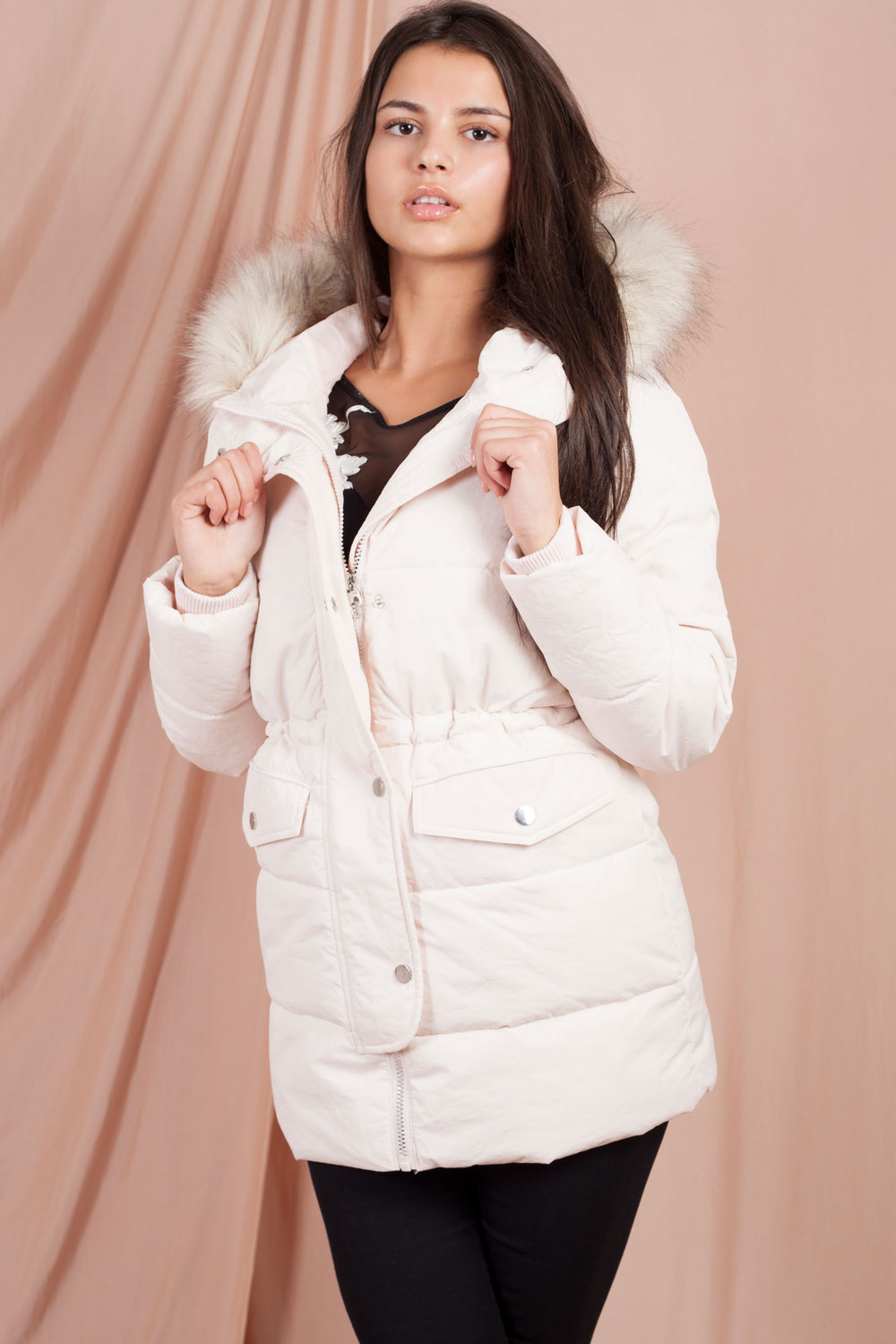faux fur puffer coat pink